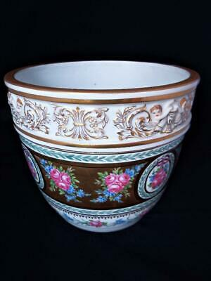 Carl Thieme Dresden Porcelain Large Hand Painted Cupids Roses Jardiniere 1880