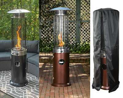 FoxHunter Gas Patio Heater Spiral Flame Glass Tube Powder Coated Hammered Steel
