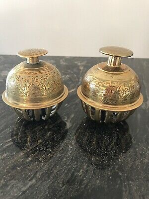 Vintage Pair Of 9cm Indian brass Enamelled elephant claw bell