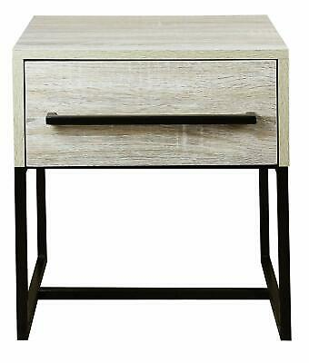 House Additions Hilton 1 Drawer Bedside, Silver Oak Finish
