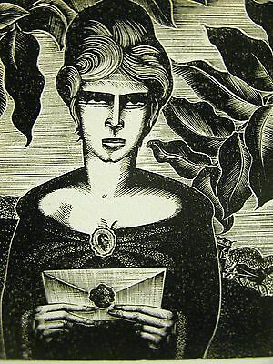 Lynd Ward 1930 UNHAPPY WIFE w LOVE LETTER ADULTRY Art Deco Print Matted