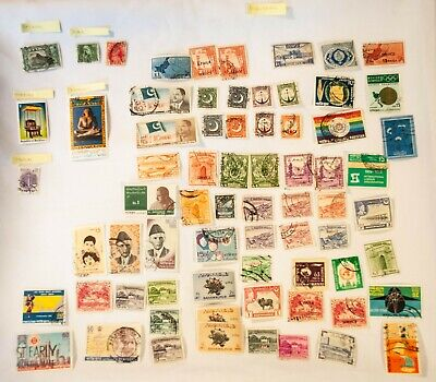 Lot of 71 Stamps from Asia, South, West, India, Israel, Pakistan, Sir Lanka
