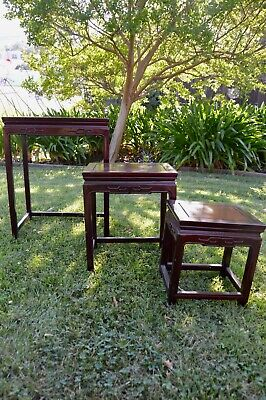 Carved Asian Nesting Tables