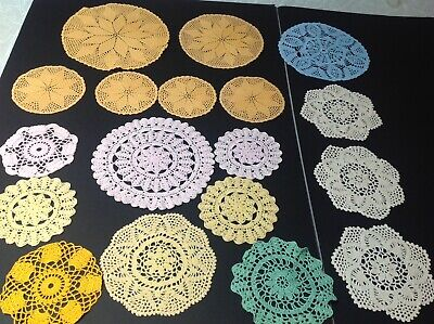 Lot Of 18 Coloured Vintage Crochet Doilies Ideal For Weddings / Events