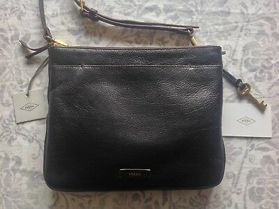 278814d6e FOSSIL JULIA BLACK Leather Satchel Crossbody Bag with Key - £55.00 ...
