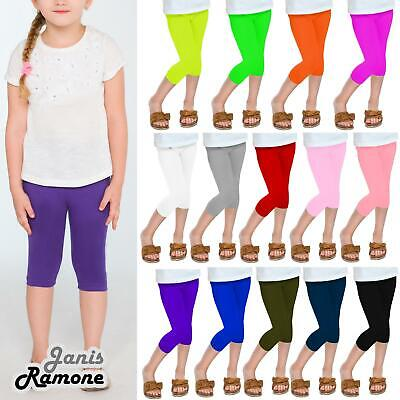 Children Girls Plain Stretchy Basic 3/4 Capri Leggings Summer Kids Cropped Pants