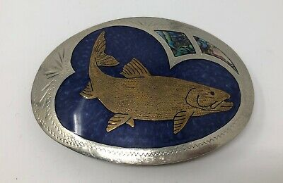 Vtg Johnson Held Fish Turquoise Inlay Hand Crafted Western Belt Buckle