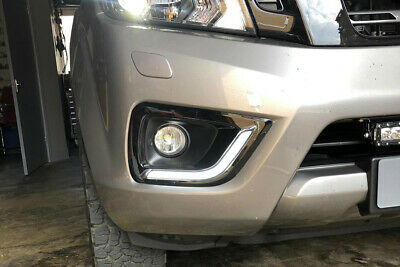 Fog Light Surrounds to fit Nissan Navara NP300 - Black with DRL Lights
