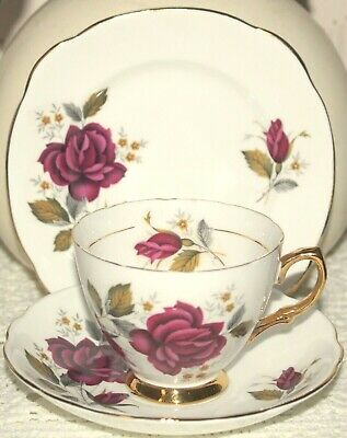 Exquisite Royal Imperial Bone China Trio Tea Cup Saucer Side Plate Rose Gold