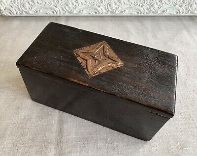 Antique Vintage Arts And Crafts Copper Star Topped Wooden Box