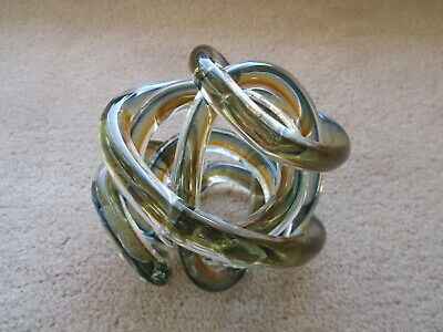 Blown Glass Knot Rope Paperweight Sculpture Amber,Blue,Clear Twisted Art