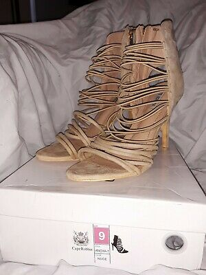 8c62b4968 Cape Robbin ANOXA-1 Nude Strappy Caged Stiletto Heel Ankle Sandals Size 9