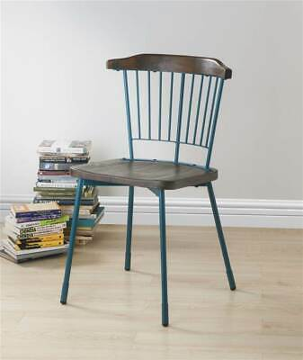 Side Chair in Teal and Brown Oak - Set of 2 [ID 3872244]