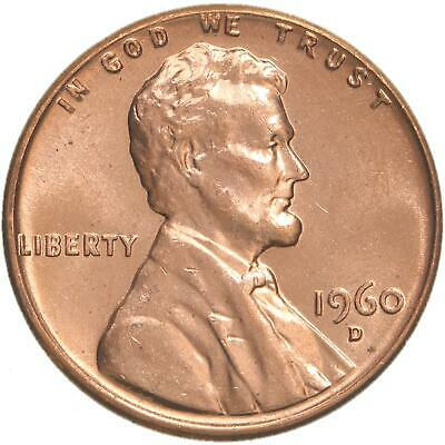 1960 D Lincoln Memorial Cent Large Date Choice BU Penny US Coin