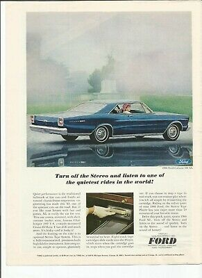 1966 Ford Galaxie 500, Fairlane GT, Mustang, Falcon, & Thunderbird print ads,