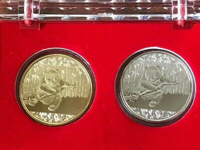 2 Pcs China Giant Panda Temple of Heaven Colored 24K Gold /& Silver Plated Coins