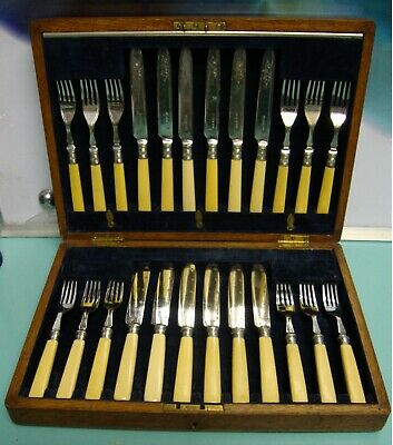 24pc Bone Handle Cutlery Sterling Silver collar Plate knife Fork box set canteen