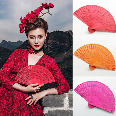 Vintage Wedding Hand Fragrant Party Carved Bamboo Folding Fan Chinese Wooden Fan