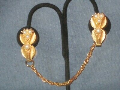 Vintage Gold-Tone Metal Faux Pearl Sweater Guard Clips