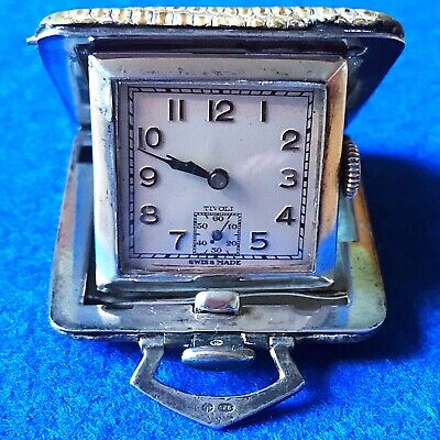 Antique Lizard Leather Bound Sterling Silver Folding Tivoli Pocket Watch, Swiss