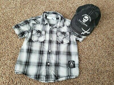 Toddler boy buttom up shirt and hat 2T, pirate shirt and cap, 2T outfit