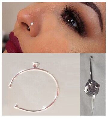 Small Thin Nose Ring One Crystal Diamante Hoop Stud Sparkly Crystal Nose Ring