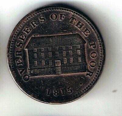 1815 Sheffield One penny coin token : Overseers of the poor