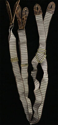 """VTG 1930's Brown Houndstooth Pioneer Suspenders 36 """" w/Leather Button-Ons  NICE!"""