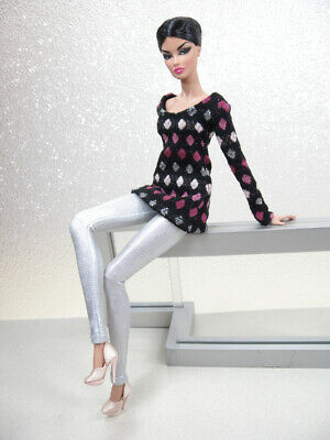 Black Knit Top & Silver Tights Handmade by KK Fits Fashion Royalty, FR2, NuFace