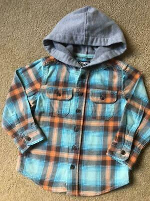 OSH KOSH B'GOSH Long Sleeve Button Up Hooded Plaid Flannel Shirt Size 3T