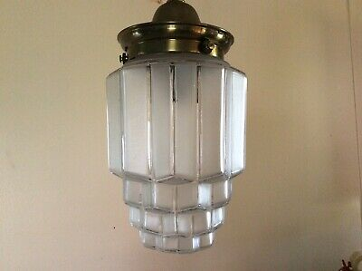 Antique Vintage Art Deco Skyscraper Pendant Light 1930s Frosted Etched Lines