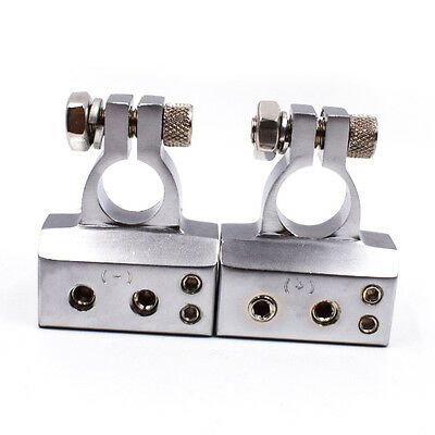 Pair Of Car Battery Terminal Clamp Copper Alloy Connector POSITIVE +NEGATIVE Kit