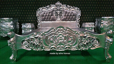 UK King 5' shabby padded SILVER LEAF Hand carved fr mahogany french Rococo Bed