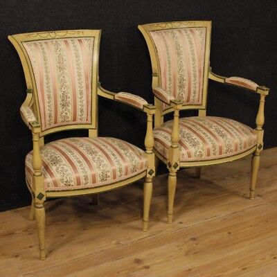 Pair of Armchairs Chairs Lacquered Furniture Living Room French Wood Antique