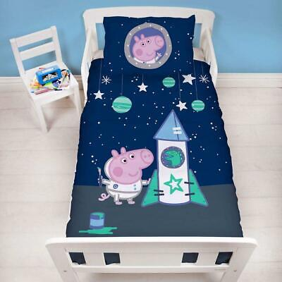 Peppa Pig George Boom Space Rocket Bambin Junior Ensemble Housse de Couette Lit