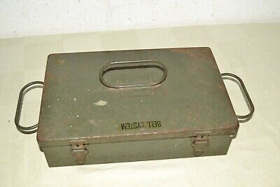 40s Vtg BELL SYSTEM Steel PARTS ORGANIZER Box US ARMY Signal Corps LINEMAN Case