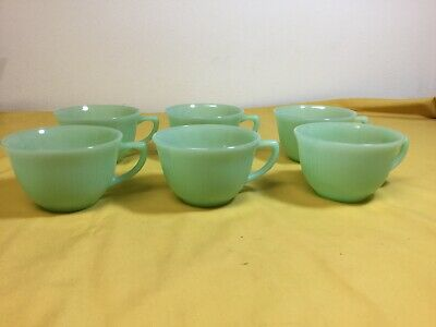 6 Vintage Anchor Hocking Fire King Jadeite Jane Ray Cups