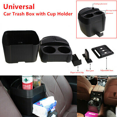 Car Trash Box Rubbish Garbage Container Dust Bin Bottle Cup Holder Stand Black
