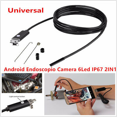 Car Inspection Camera Scope Cable Endoscope 7MM Lens HD USB Android PC 2in1 6LED