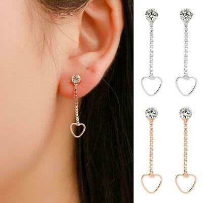 Rose Gold Long Dangle Stud Drop Plated Crystal Heart Gifts- Earrings Bridal R8L2
