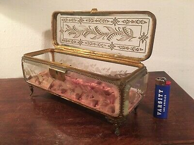 Antique French Acid Etched Glass And Gilt Metal Jewelry Box Table Vitrine 19th C