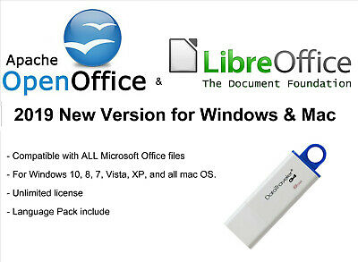 Apache openOffice & Libre Office 2019 Edition Windows and Mac on 16gb USB
