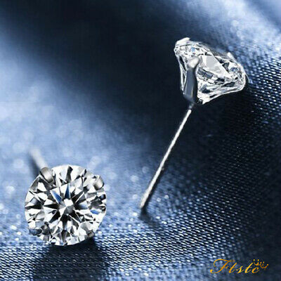 New 925 Silver Classic Crystal Lab Diamond Cutting Stud Earrings Gift 3~8mm