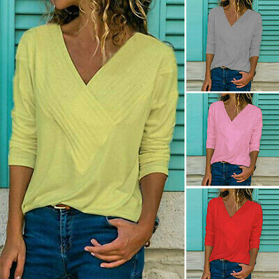 Fashion Womens V-Neck Loose Shirts Ladies Long Sleeve Casual Pure Tops Blouse