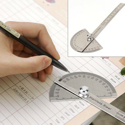 UK Stainless Steel 180° Protractor Round Head Rotary Angle Rule Finder Arm Ruler