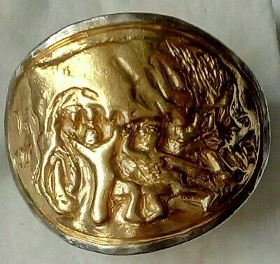 Rare Ancient Roman Silver Legionnaire Ring With She Wolf Inlaid Gold 24K Unique