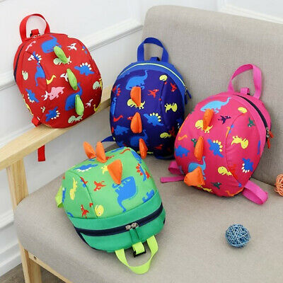 Unsex Cute Toddler Kids Baby Mini Backpack Cartoon Dinosaur School Bag with Rein