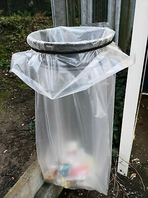 "Extra Heavy Duty Large XL Clear Compactor Sacks Rubbish Bags Bin 22x34x47"" 200G"