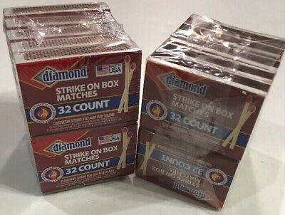 10 Pack X 2 - Diamond Strike On Box 32 Count Matches 640 Stick Matches Total.