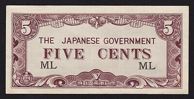 Malaya Japan Occupation WWII 5 Cents  Banknote 1942 P-M2a